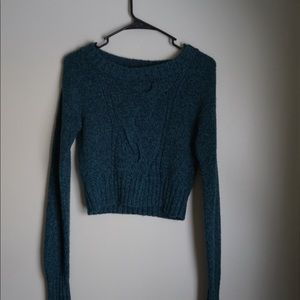 Cropped Teal Knitted Sweater